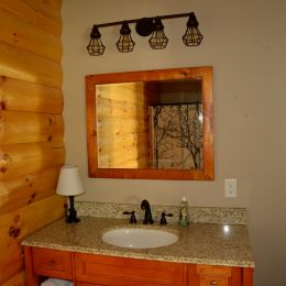 Bathroom Vanity with Log Siding Accent Wall