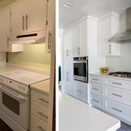White Shaker Style Cabinets and Switched to a Cooktop Unit with Separate Wall Oven Unit!