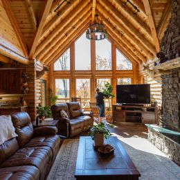 Open Great Room with Round Log Roof System