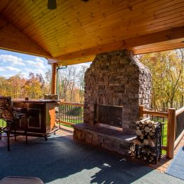 Side Covered Porch with Outdoor Fireplace