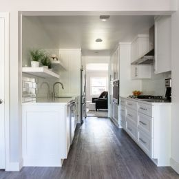 Galley Kitchen with White Custom Cabinets - New Interior Doors