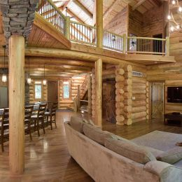 Log Home Panoramic View of Main Floor Great Room
