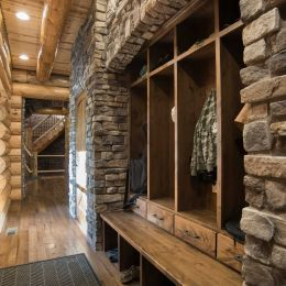Custom built locker cabinets encased with stone veneer