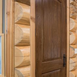 Beautiful Arch Top Pine Interior Door with Dark Stain