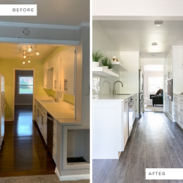 Before and After of the Galley Kitchen Remodel