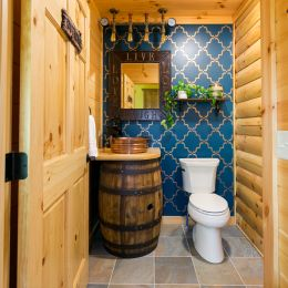 Guest Bathroom with Whiskey Barrel Sink