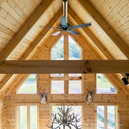 Log Timber Roof System with Square Rafters and Tongue and Groove Barn Siding as Ceiling