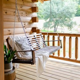 Hanging Swing on the Rear Porch of the Log Home