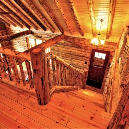 Bird's Eye View of Rustic Log Stairway