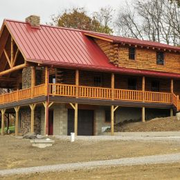 Log Home Exterior Second Floor Shed Dormer