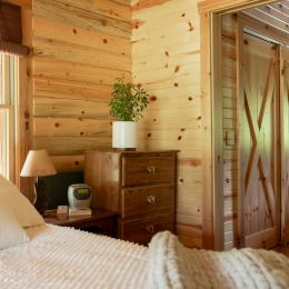 Log Home Master Bedroom to Bathroom Opening