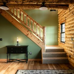 Rustic Log Railing on Conventional Stairway