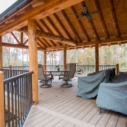 Side Covered Porch with Patio Furniture