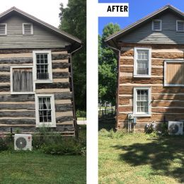 Before and After of the side of the house