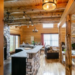 The open concept floor plan for this custom log home