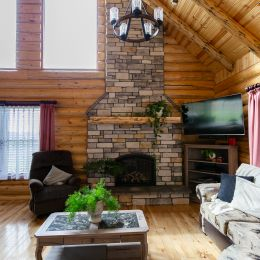 A log home great room is one of the coziest rooms in the house!