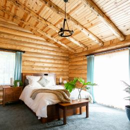 Large Master Log Home Bedroom