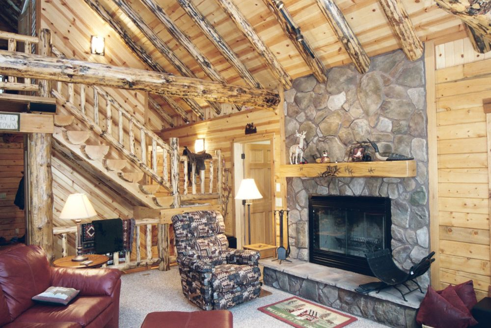 Rustic Log Home Wood Burning Fireplace