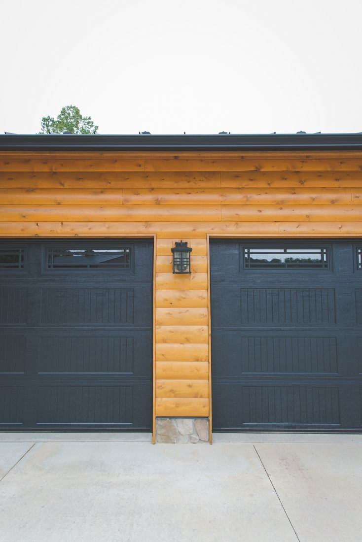 Detail Shot of Black Garage Doors on Garage