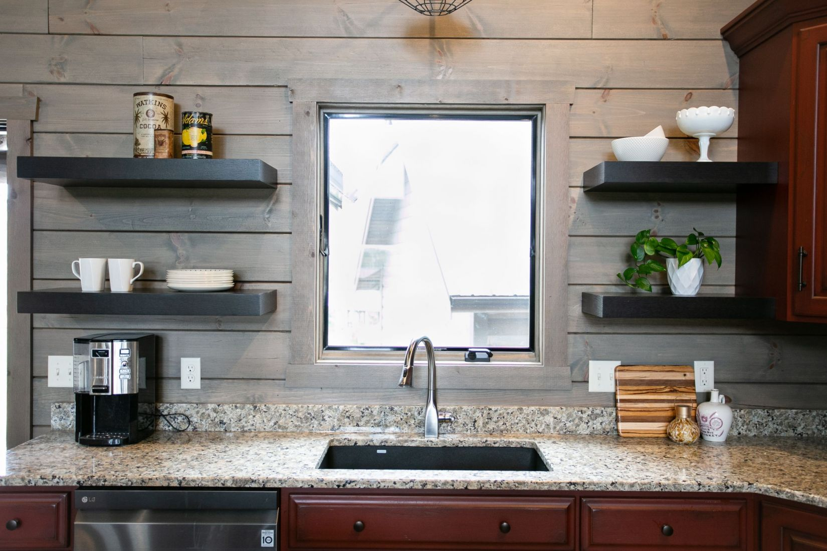 Floating Kitchen Shelves Next to the Drop In Kitchen Sink