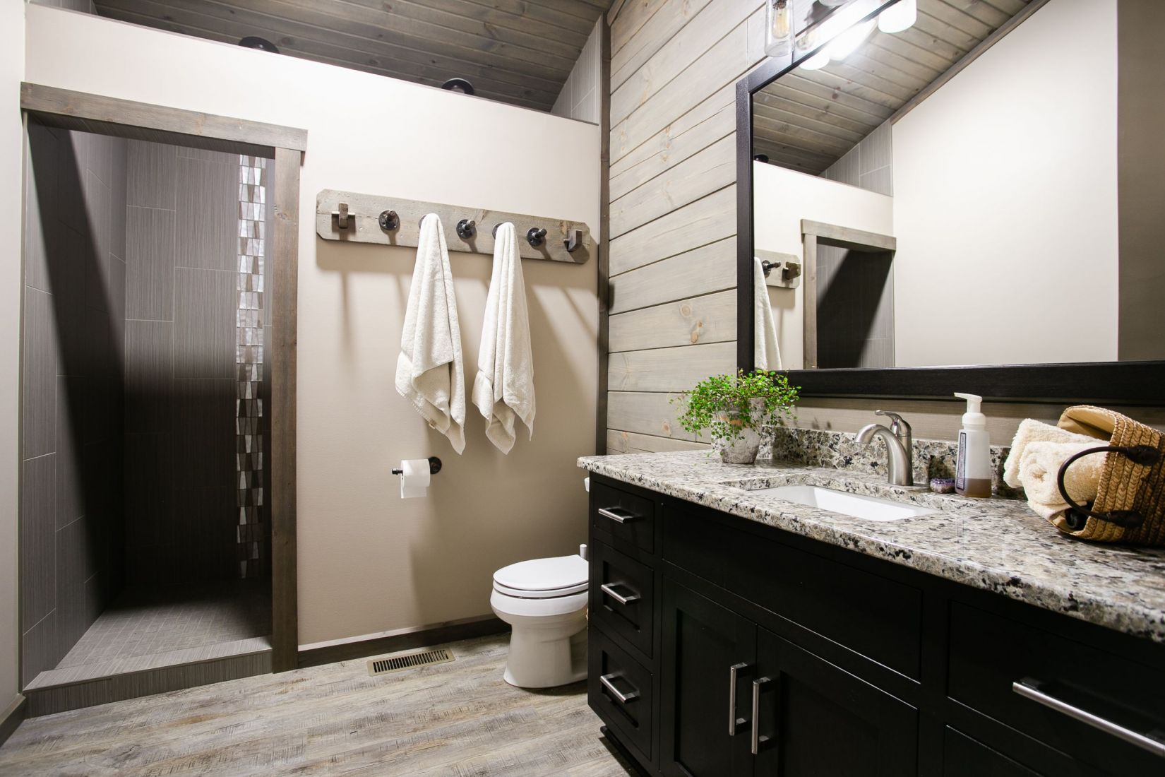 Master Bathroom with Large Vanity and Walk-In Shower