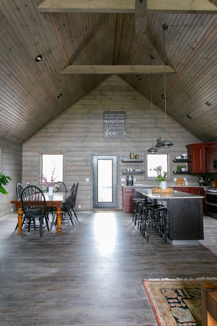 Tongue and Groove Barn Siding Covering the Walls and Ceiling with Gray Stain