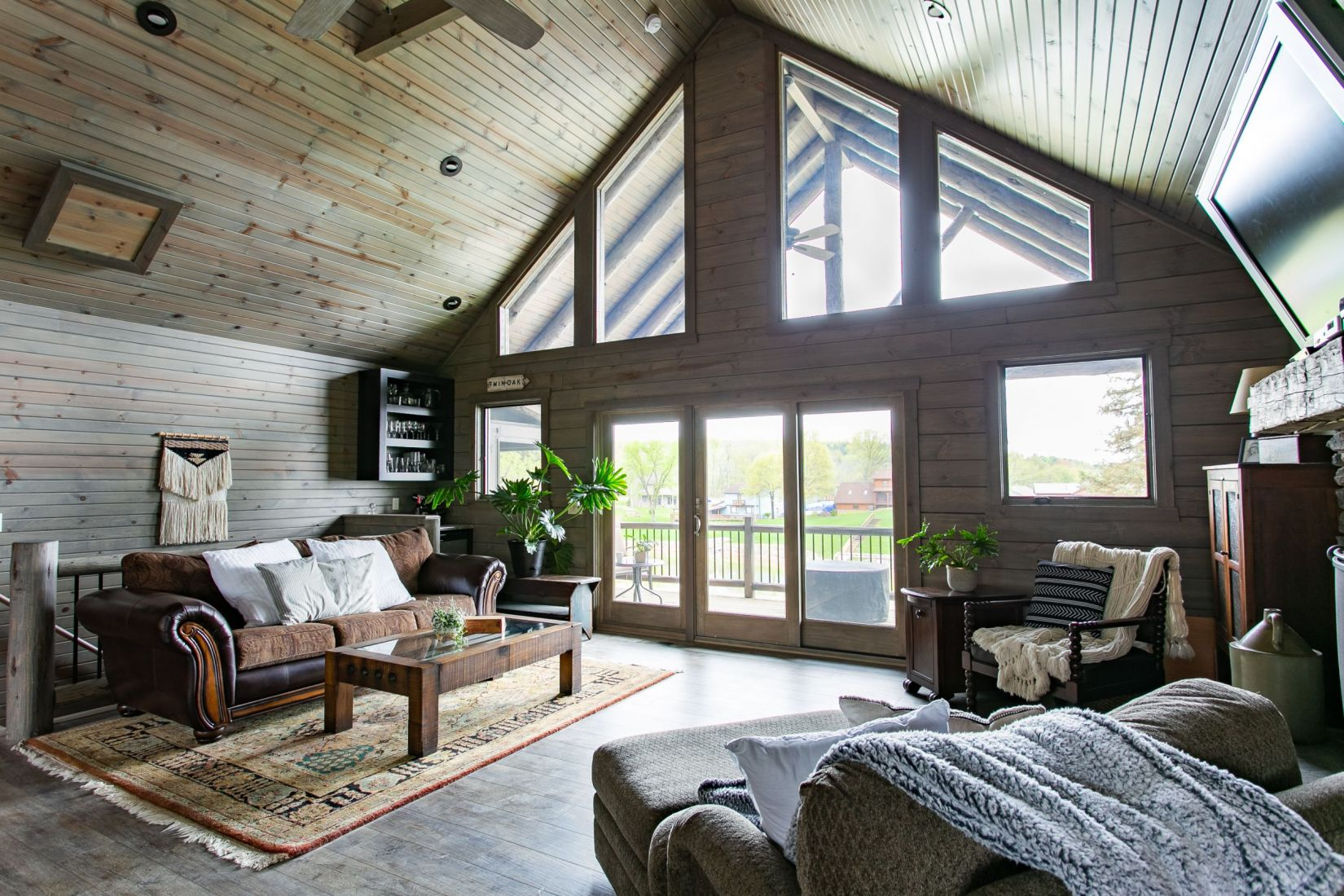 Great Room with Tongue and Groove Barn Siding on Ceiling and Walls