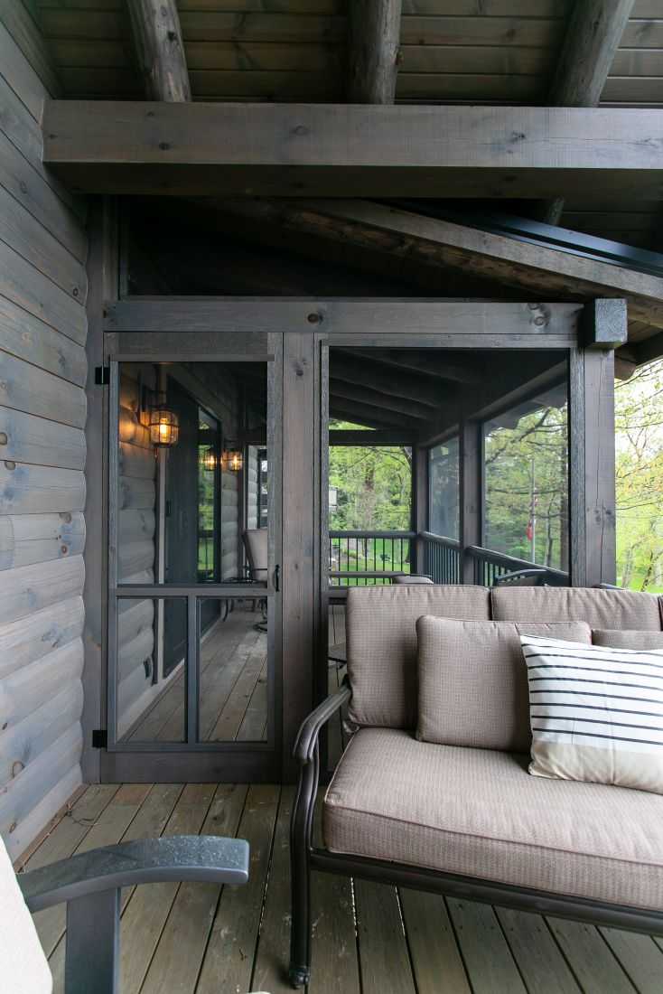 Screened in Porch Constructed with Square Logs
