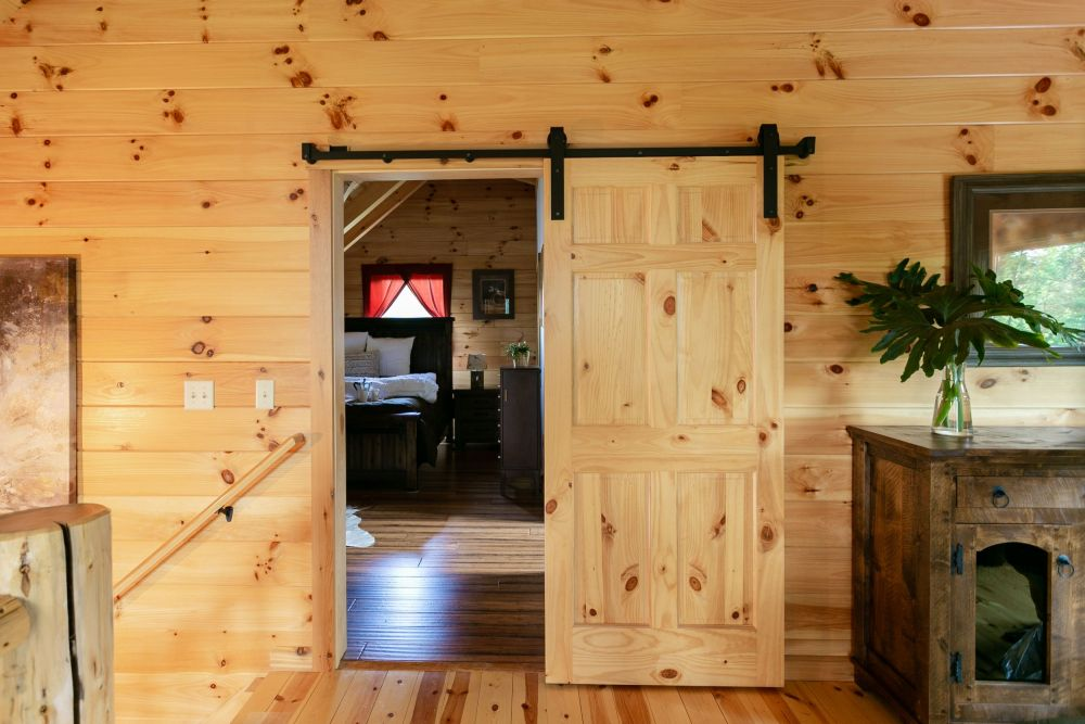 6 Panel Knotty Pine Interior Door on a Sliding Track - Clear Varnish