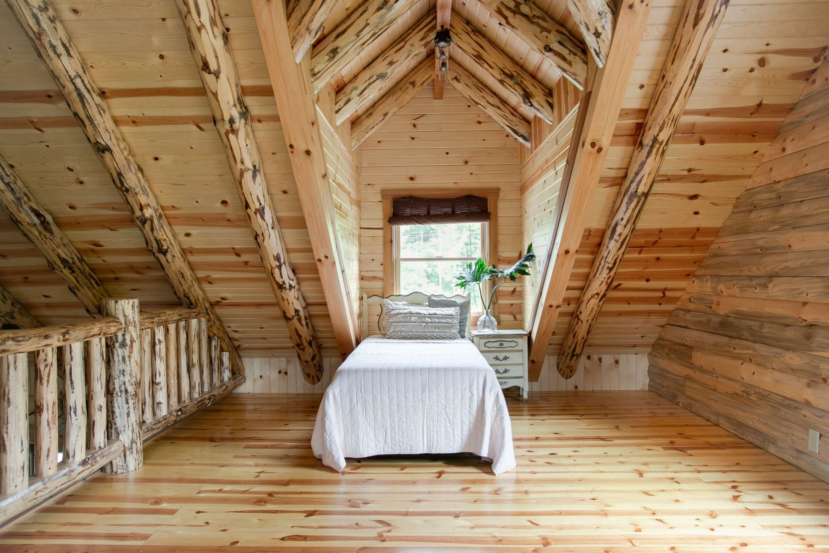 Loft Area Bedroom in Log Home