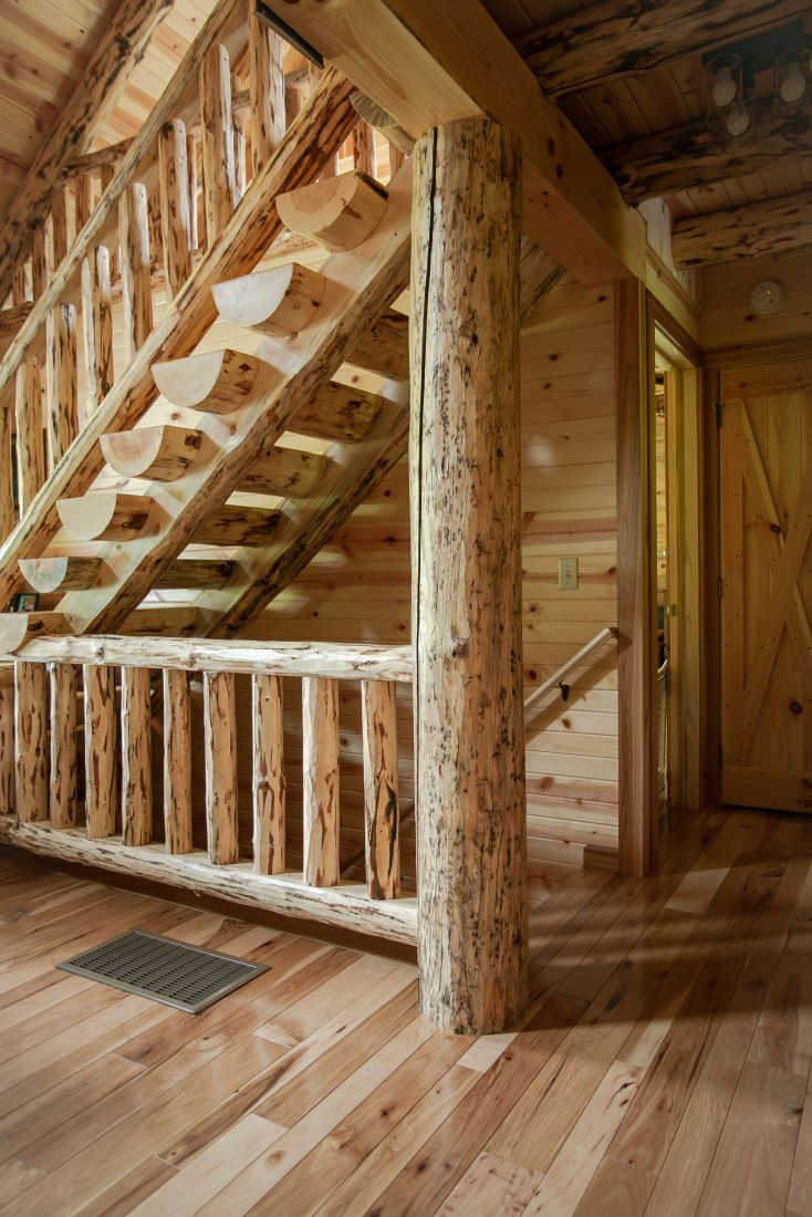 Full Rustic Log Stairway with Natural Varnish