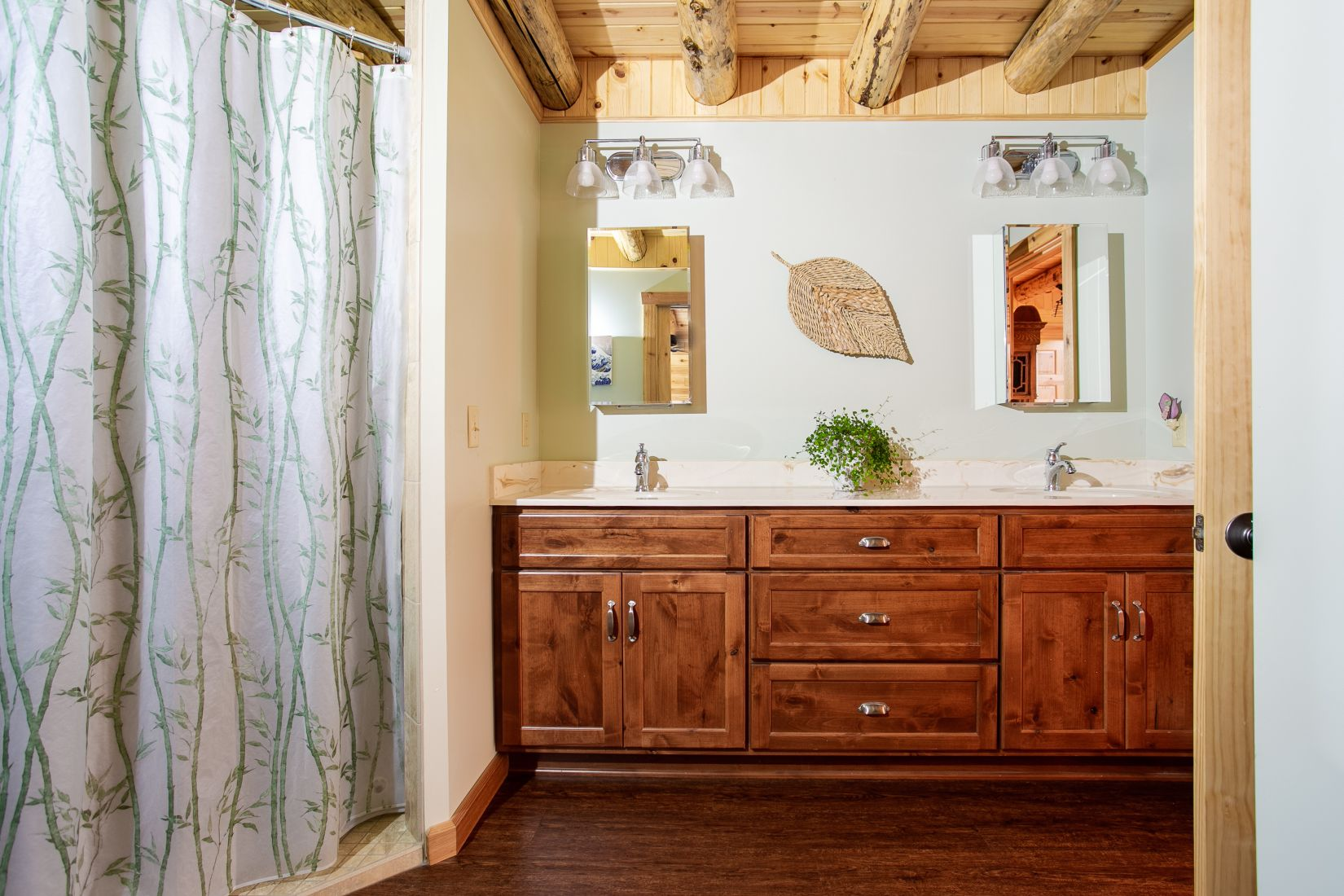 Master Bathroom with Double Sink Vanity and Tile Shower