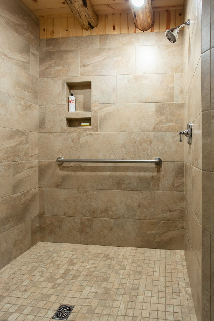 Walk-in Tile Shower in Master Bathroom with Chrome Shower Trim