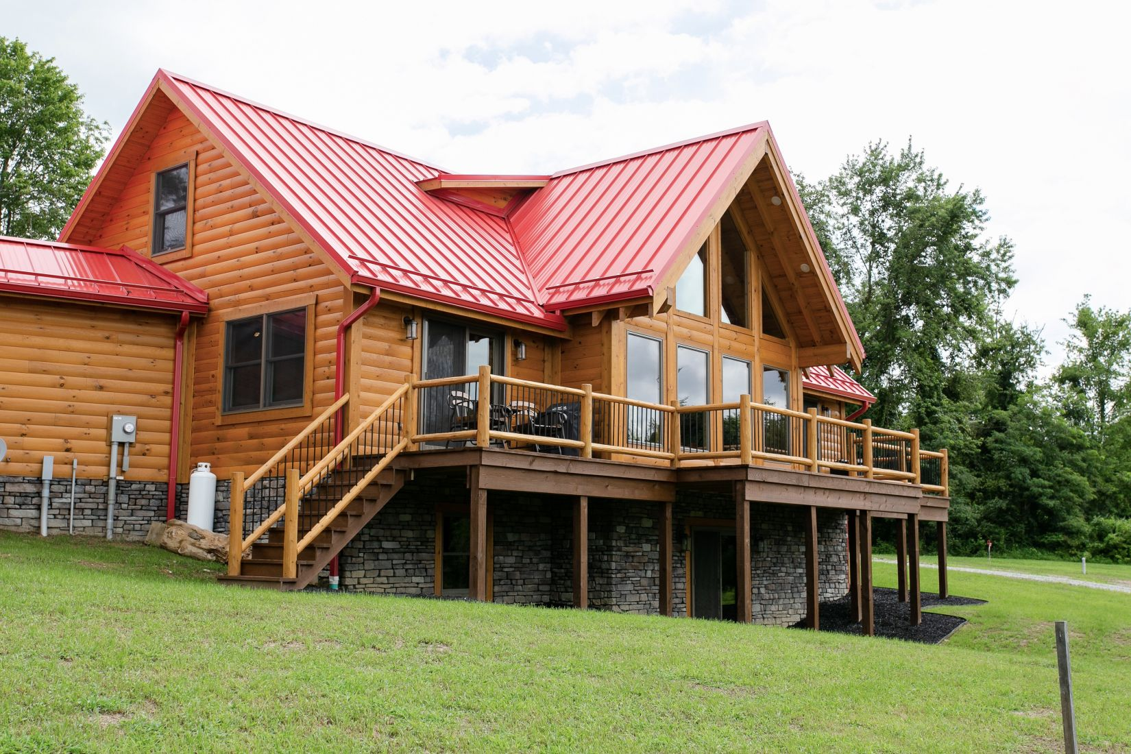 Full Open Deck in the Rear of this Log Home