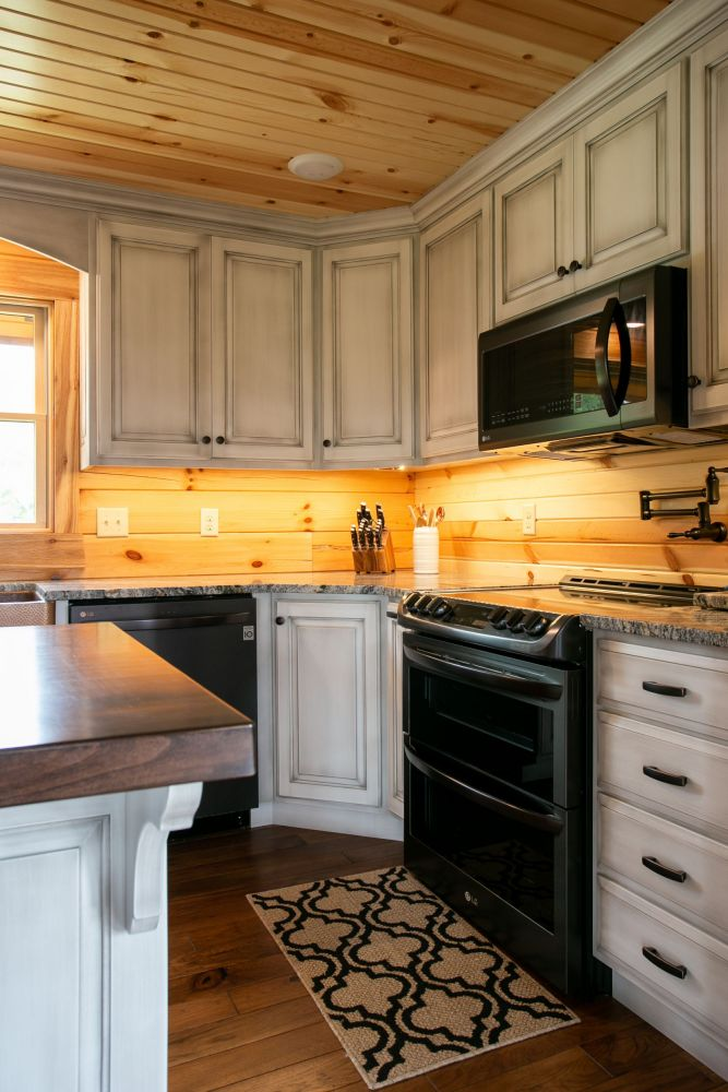 White Kitchen Cabinets with Glazed Antique Look