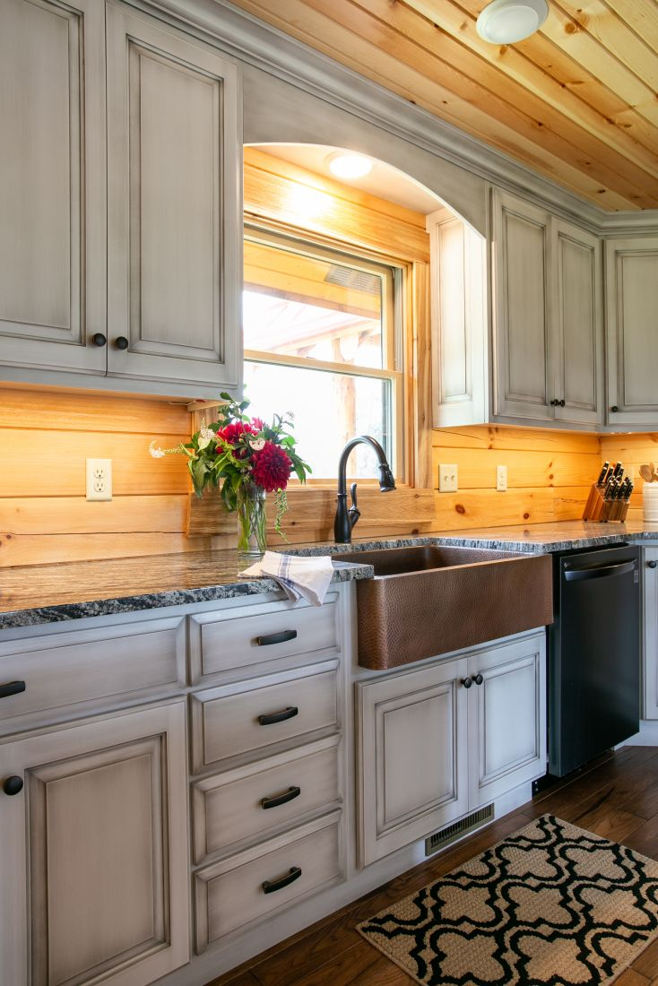 White Cabinets with Copper Farmhouse Sink