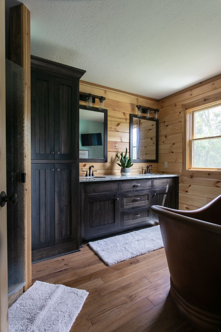 Master Bathroom with Custom Vanity and Large Copper Soaking Tub