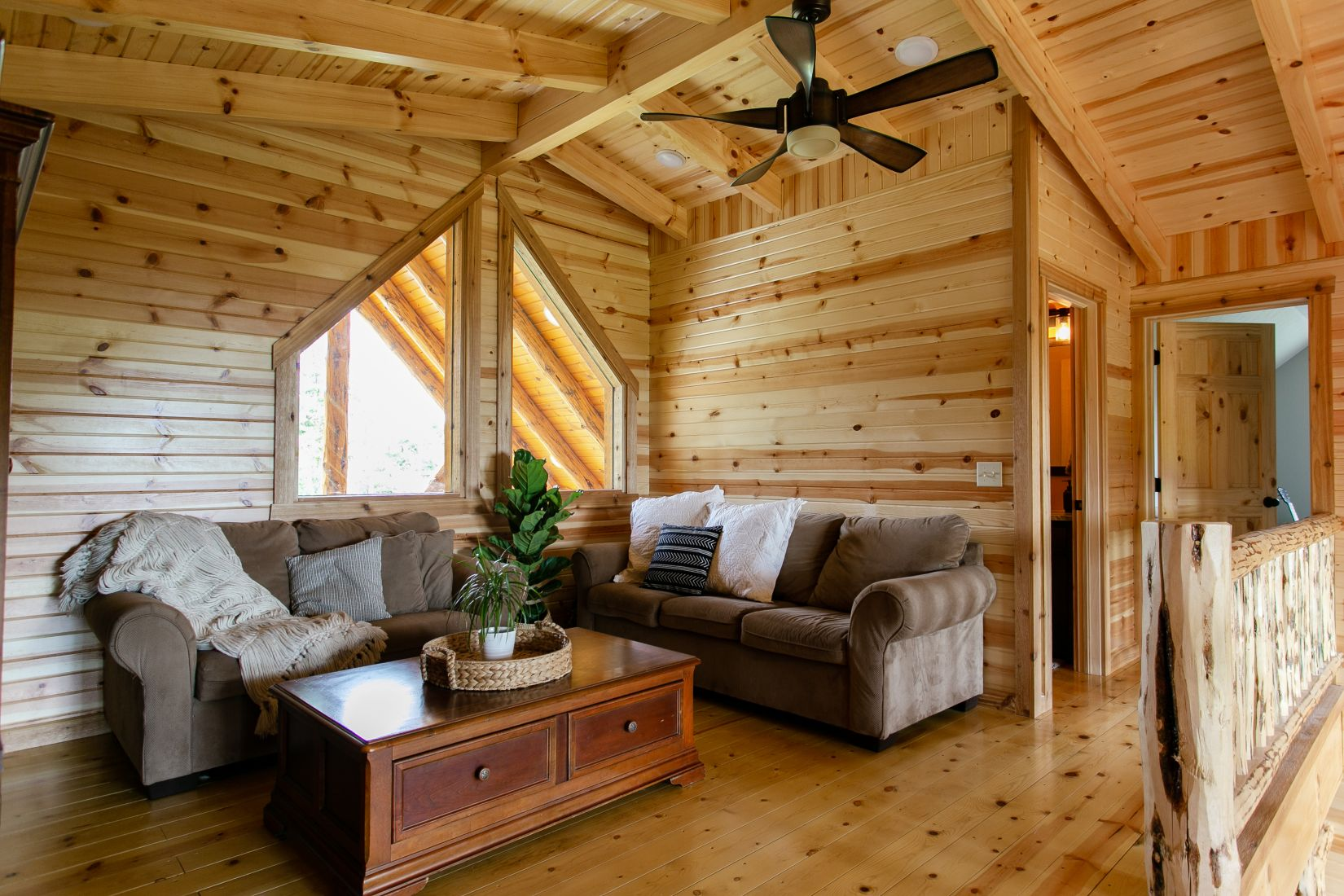 Open Loft Area with Tongue and Groove Barn Siding on Walls