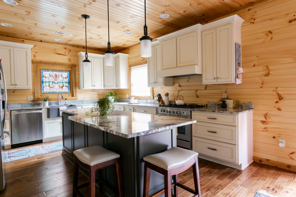Custom Log Home Ktichen with White Painted Cabinets