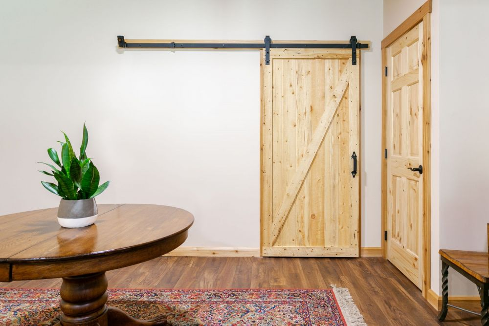 Knotty Pine Sliding Barn Door - Clear Varnish