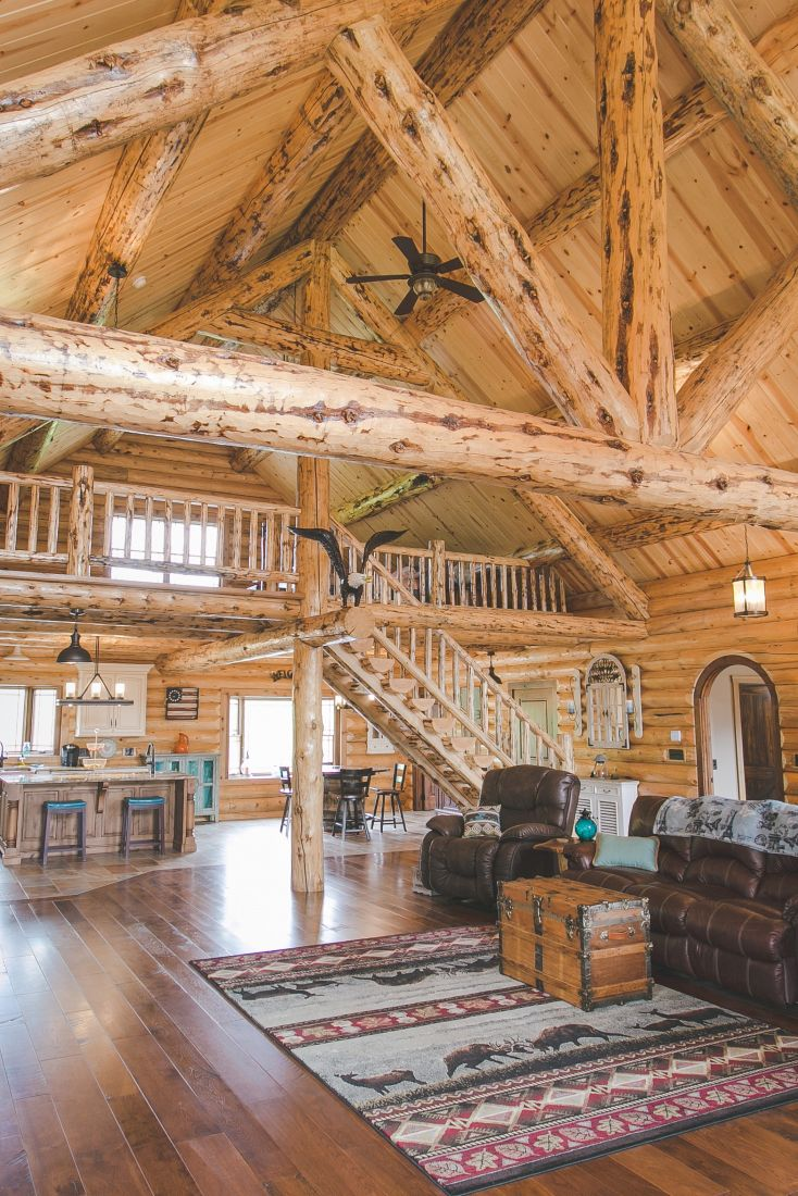 Rustic Log Ceiling Rafters and Support Beams Throughout The Main Floor