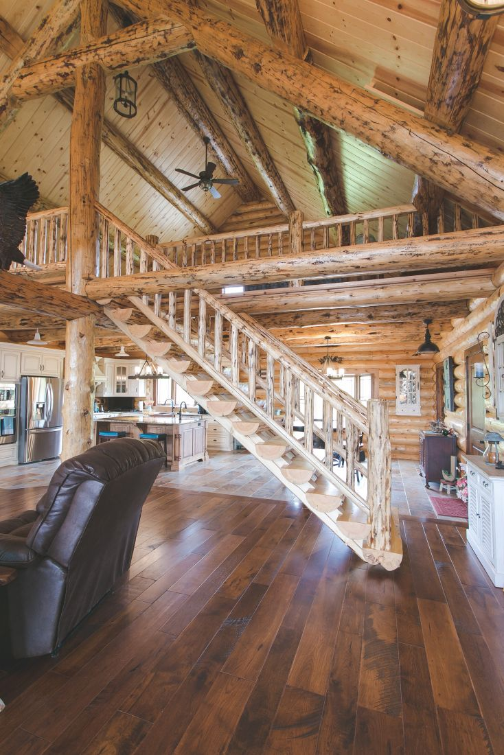 Log Timber Stairway Handcrafted by Fairview Log Homes