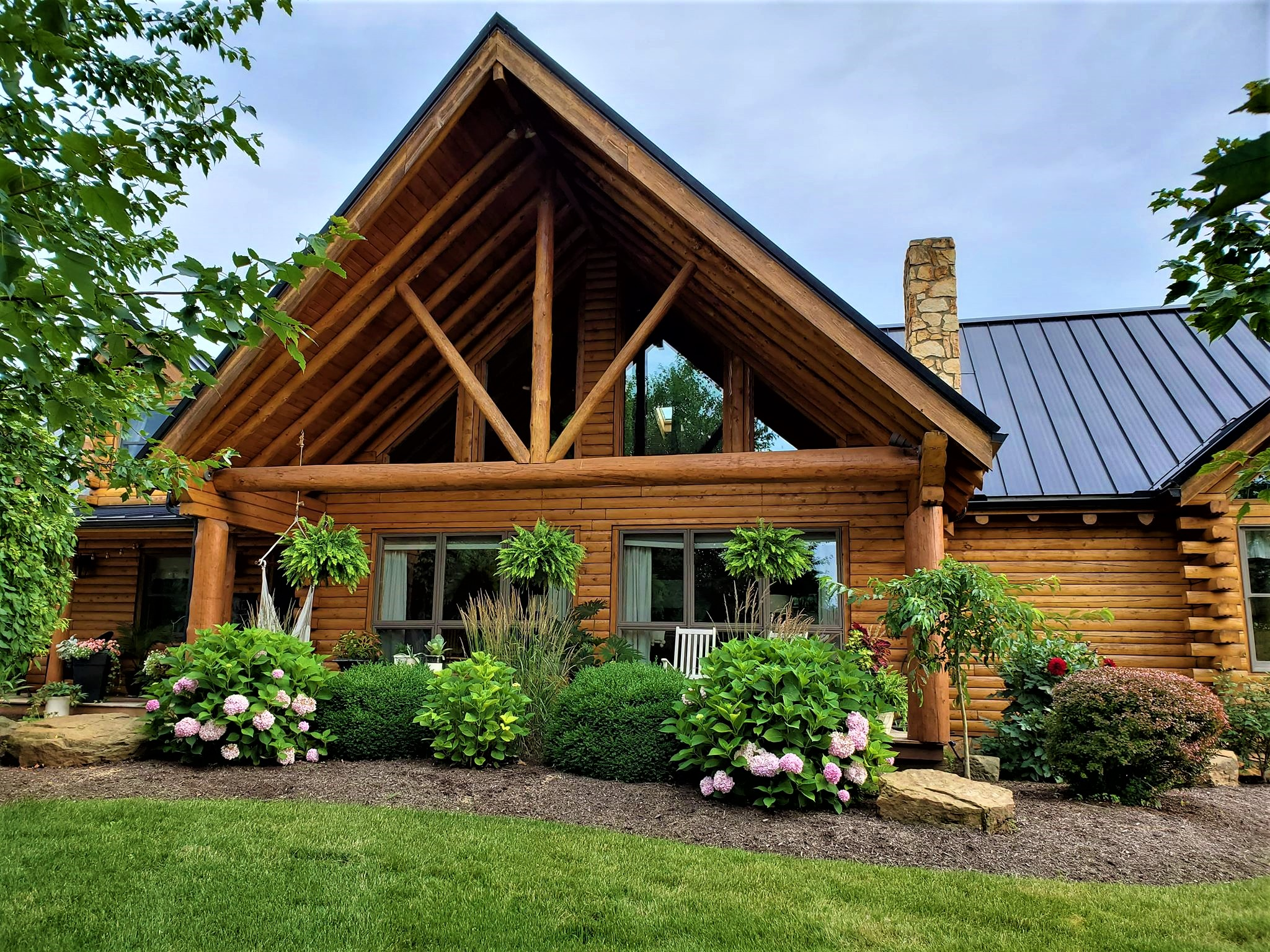 Front Porch Gable of Log Home