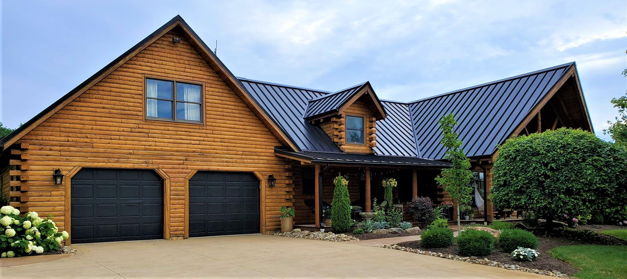 Double Car Garage Attached to Log Home